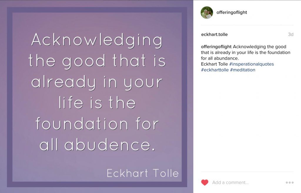 Eckhart Tolle on Instagram post